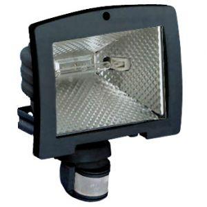 Hager Projecteur halogène à économie énergie 120W avec détecteur infrarouge 200° noir (52545) -
