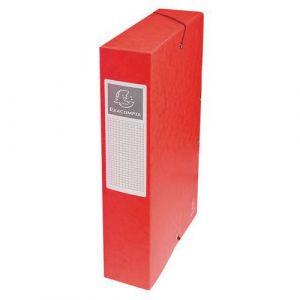 Exacompta 50605E - Boîte à élastique EXABOX, carte lustrée, dos de 60, coloris rouge