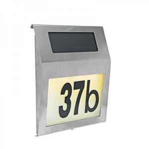 H international LED en acier inoxydable avec numéro de maison solaire - 4 lED de chiffres et lettres 60210