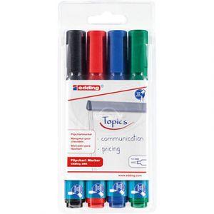 Edding Marqueur pour tableaux de conférence 380 à pointe biseautée de 1,5 - 3 mm - couleurs assorties - lot de 4 - paquet 4 unités
