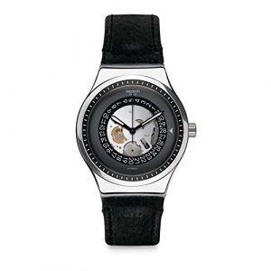 Swatch Homme Analogique Automatique Montre avec Bracelet en Cuir YIS414