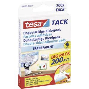 Tesa 59401-00000-00 - Boîte de 200 pastilles adhésives Tack, double face, transparentes