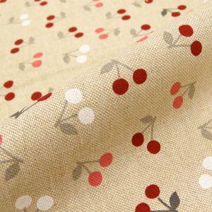 Craftine Tissu Toile Coton Beige Cerises