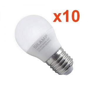 Silamp Ampoule E27 LED 8W 220V G45 300 (Pack de 10) - couleur eclairage : Blanc Chaud 2300K - 3500K