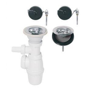 Wirquin Siphon réglable et bondes à bouchon Ø60 mm pour évier 2 bacs communicants Pro 30720438