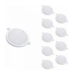 Silamp Downlight Dalle LED Extra Plate Ronde BLANC 24W Ø224mm (Pack de 10) - Blanc Froid 6000K - 8000K - Blanc Froid 6000K - 8000K