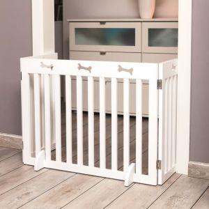 Trixie Barrière de sécurité - 3 pièces - 82-124x61 cm - Blanc - Pour chien