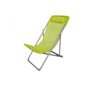 Fauteuil relax avec têtière Structure en acier et textilène 3 positions 57 x 56 x 74 cm Vert