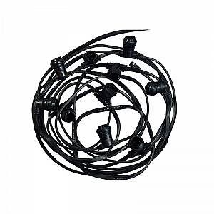 Vision-El Guirlande Foraine noire 20 Douilles B22 Câble plat 10m