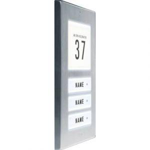 M-e Plaque de sonnette 3 foyers modern-electronics 41067 acier inoxydable 12 V/1 A