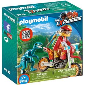 Playmobil 9431 - The Explorers : Pilote de moto et raptor
