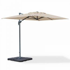 Alice's Garden Parasol déporté rectangulaire Biscarosse 2x3m Beige excentré inclinable rotatif à 360°