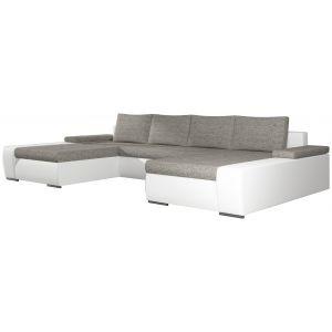 Comforium Canapé d'angle convertible 5 places en tissu gris clair et cuir synthétique blanc avec coffre méridienne réversible