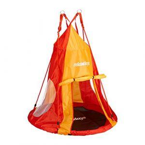 Relaxdays Tente balançoire nid d'oiseau 110 cm accessoire jardin siège rond revêtement, rouge-orange
