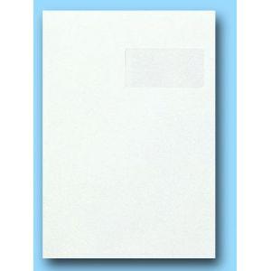 Clairefontaine 10250C - Boîte de 250 pochettes Adhéclair blanches, avec fenêtre 50x100 à 50/20, adhésive avec bande, 120 g/m², C4