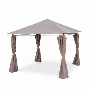 Alice's Garden Tonnelle 3 x 3 m - Elusa - Toile taupe - Pergola avec rideaux, tente de jardin, barnum