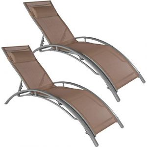 TecTake 2 Bains de soleil confortables jardin et piscine inclinables sur 5 positions en Aluminium Marron