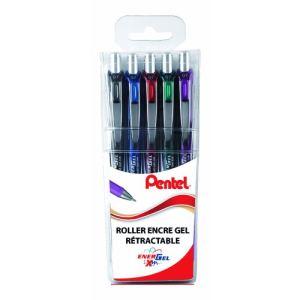 Pentel Pochette de 5 rollers Energel assorties (0,7 mm)
