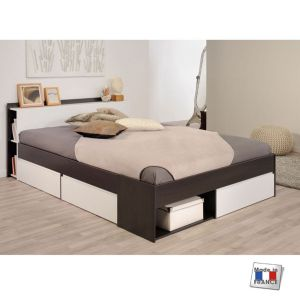 image de lit adulte avec tiroirs 160 x 200 cm - Lit 160x200