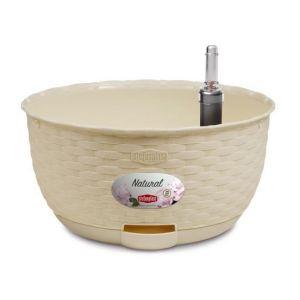 Stefanplast Pot de fleur a suspendre Natural avec réserve d'eau - 30xH14,5cm - 5,9+0,65L - Creme - Finition en rotin - Dimensions : 30xH14,5cm - Capacité : 5,9 + 0,65L - Coloris : crème.