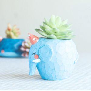 WeWoo Pot de fleur bleu Belle Maison Jardin Bureau Résine Animal de Bande Dessinée Éléphant En Forme de Plante Décoration Flower Pots Jardinière