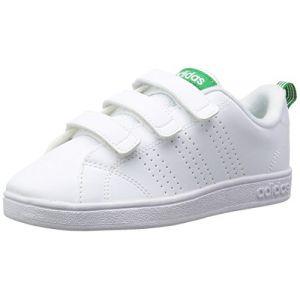 Adidas VS Advantage Clean, Baskets Mixte Enfant, Blanc (Footwear White/Footwear White/Green 0), 33 EU