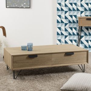 M&S Table basse 4 tiroirs JADE - bois naturel
