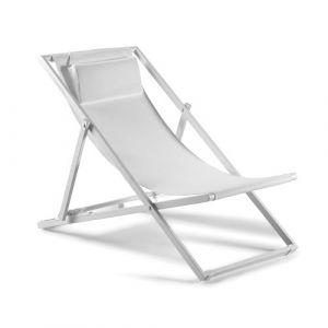 Krea Transat en aluminium blanc et textilène blanc Santiago