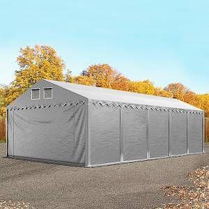 Intent24 Hangar tente de stockage 5 x 10 m d'élevage de 2,60m de hauteur gris épaisses de 500g/m² PVC imperméables.FR