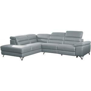 Comforium Canapé d'angle design avec relax électrique et méridienne gauche en cuir véritable gris clair