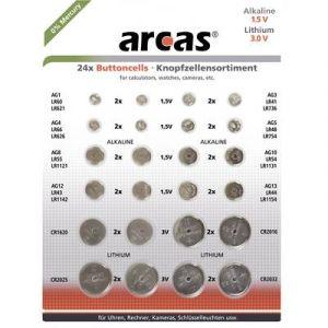 Arcas Pack de 24 piles bouton AG1 till CR2032 0% Mercury