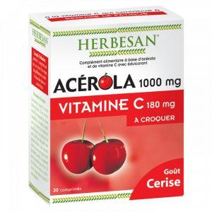 Herbesan Acérola 1000mg goût Cerise - 30 comprimés