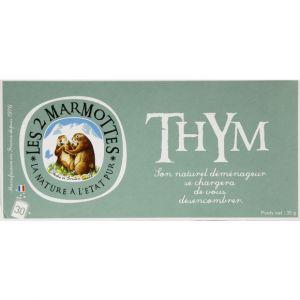 Les 2 Marmottes Tisane au thym, coeur de plantes - Les 30 sachets, 48g