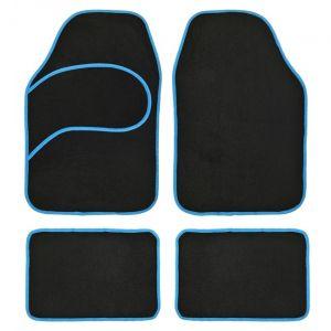4 tapis voiture universels moquette noir ganse bleue