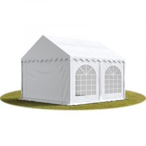 Intent24 TOOLPORT Tente Barnum de Réception 4x4 m PREMIUM Bâches Amovibles PVC 500 g/m² blanc + Cadre de Sol Jardin.FR