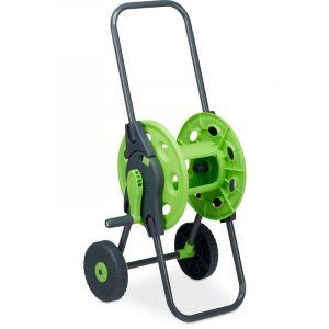 Relaxdays Chariot à tuyaux, Accessoire d'arrosage pour 45m, 1/2 pouces, jardin, 82,5 x 43 x 34 cm, gris-vert