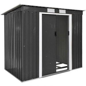 Abri de jardin métal 2,7 m² toiture monopente gris 2208205