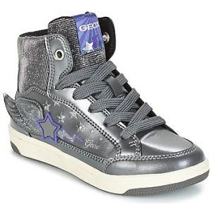 Geox Jr Creamy A, Baskets Hautes Fille, Argent (DK Silver/Violet), 34 EU