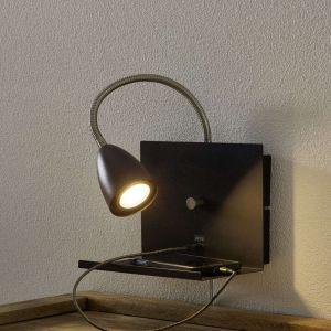 Markslojd Applique murale LOGI-Applique étagère flexible avec port USB et variateur Métal H35cm Noir