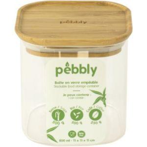 Pebbly Boite en verre carré avec couvercle en bambou - 800 ml