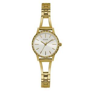 Guess Montre Montres GW0025L2 - Boîtier acier doré avec cristaux Cadran blanc Bracelet acier doré