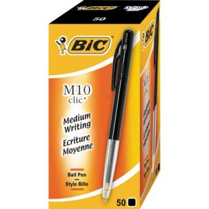 Bic 50 stylos bille M 10 encre noir pointe moyenne