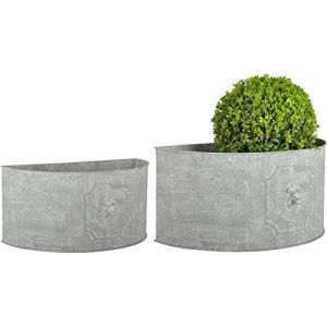 Esschert design Pot de fleurs demi-rond Lion (Lot de 2)