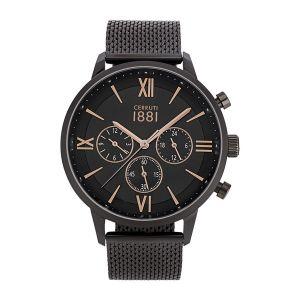 Cerruti Montre Homme 1881 - Denno - Cadran Noir - Bracelet milanais - 43mm - 10 ATM - CRA23406
