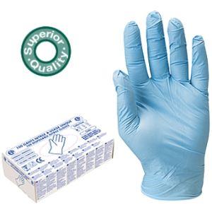 Mystbrand Boîte de 100 gants jetables en nitrile bleu poudrés (taille 10)