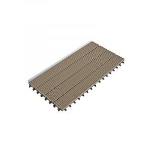 Décoweb Dalle Terrasse Bois Composite clipsable - Chocolat - Lot de 6 dalles 30x60cm soit 1,08m²)