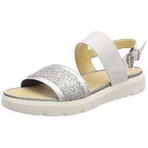 Geox D Amalitha G, Sandales Bout Ouvert Femme, Blanc (White/Silver), 38 EU