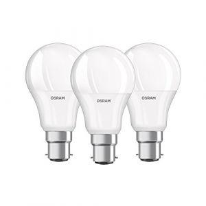 Osram Ampoule LED/Culot B22, 9 W Equivalent 60 W/forme classique/Dépoli Blanc Chaud - 2700K lot de 3