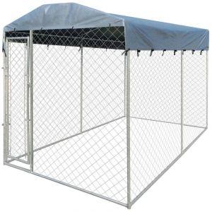 VidaXL Chenil d'extérieur avec toit pour chiens 4 x 2 m