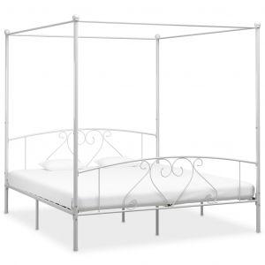 VidaXL Cadre de lit à baldaquin Blanc Métal 180 x 200 cm